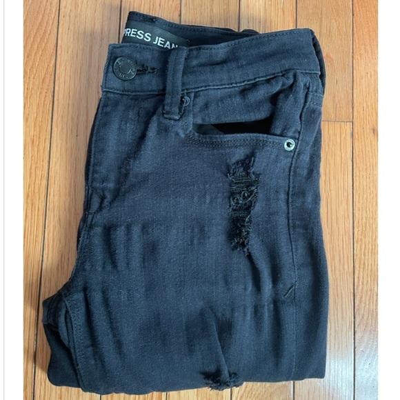 Express black mid rise distressed skinny Jean